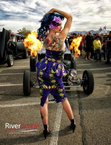 Lauren Perry and Hellbilly flame car. Jillian Danielson/RiverScene