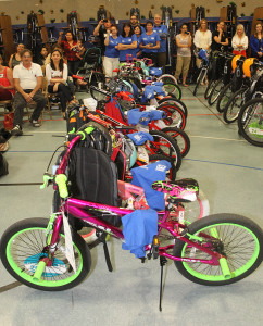Bikes are lined up for each of the students in Smoketree gym Friday afternoon.