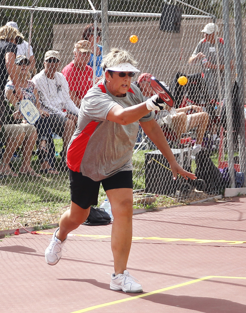 Wendy Holloway competes in a Pickleball Tournament Saturday afternoon at the London Bridge Resort. Jillian Danielson/RiverScene