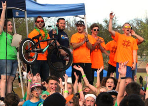 Volunteers give away a new bike at Teen Break Tuesday afternoon as one of the prizes. JIllian Danielson/RiverScene