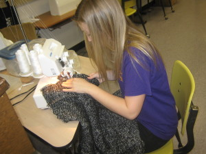 Student in Strothers Fashion Design Class works on an outfit for competition. /Submitted photo