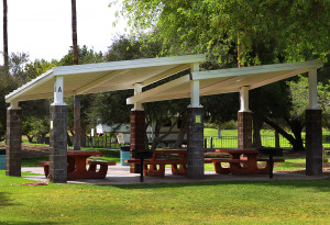 Cabanas are located throughout Rotary Park. Jillian Danielson/RiverScene