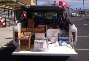 Local Homes for Heroes office vehicle sits in the parking lot to be filled with items for the troops. Submitted photo Keller Williams