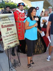 Tess Rafols talks with Renaissance Fair participants Friday morning. Jillian Danielson/RiverScene