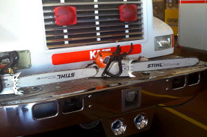 A chainsaw purchased by the VFA grant sits on Engine 23 at Desert Hills Fire Station Thursday afternoon.  Submitted photo Captain Stephen Bunn