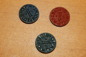 Food tokens kept by Roz from WW2 that were handed out to families by the government. Jillian Danielson/RiverScene