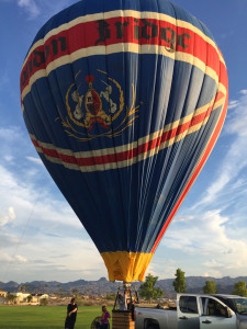 Baker inflates the balloon in Lake Havasu for the first time since 1971. Submitted photo Erika McPherson