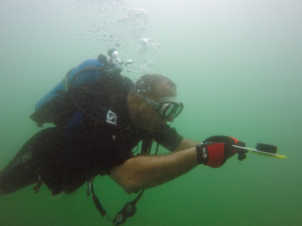 LHCPD dive team member performs a navigation drill on Lake Havsau. - Nathan Adler/RiverScene Magazine