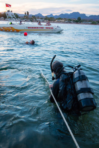 LaPaz County Sheriff Rosado is pulled to shore with a simulated victim in a rescue drill on the Colorado River. - Nathan Adler/RiverScene Magazine