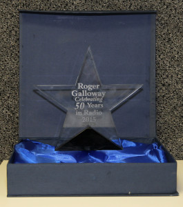 An award given to Roger on his 50 year anniversary in broadcasting. Jillian Danielson/RiverScene