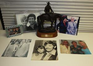 Photos of Roger with celebrities. (L-r) Brooke Shields, Barbara Mandrell, Bob Hope, Neil Simon, Linda Ronstadt, and Vince Neil. Jillian Danielson/RiverScene