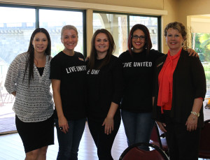 United Way volunteers Marguerite Smith, Tabitha Martin, Tracey Bolinger, Tristen LaRue, Lori Stahl of Wells Fargo pose for a photo at the luncheon. Jillian Danielson/RiverScene