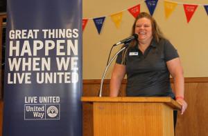 Lyn Demaret speaks at the Unite Way luncheon Friday morning. Jillian Danielson/RiverScene