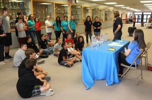 Tonya Krueger of JTED speaks to 8th graders at Thunderbolt Career Day Thursday morning. Jillian Danielson/RiverScene