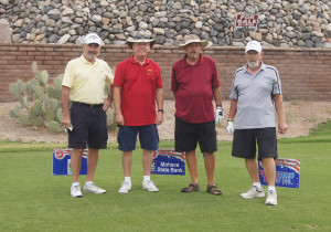 Tournament players Fred Miller, Bud Watts, Gene Dull, and Bob Borg pose by the 12th Hole. Judy Lacey/RiverScene