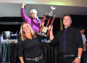 The Cha Bones team celebrates winning the mixology competition at Top Chef Thursday evening. Jillian Danielson/RiverScene