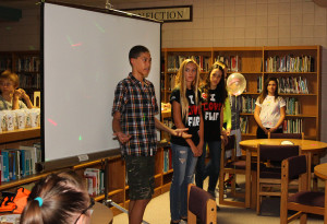 Students thank teachers in the library before the announcement of the nomination. Jillian Danielson/RiverScene