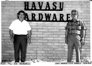 Ray and Eddie Hurdel with the Havasu Hardware sign in 1969. photo courtesy Today's News Herald archives