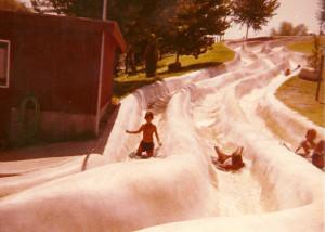 Justin slides down the water slide at Crazy Horse Campground in 1978. Photo courtesy Justin Osborne Hurdel