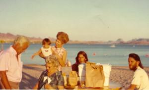 Grandpa Eddie, great grandmother Nancy Garrett (seated), grandma Evelyn holding Justin, uncle Dayne, father Darrin in 1972. photo courtesy Justin Osborne Hurdel