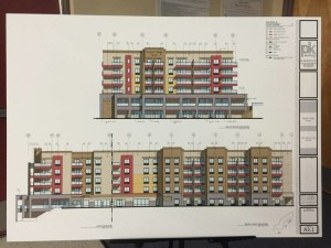 A drawing of the hotel is presented at the VRE meeting. Jillian Danielson/RiverScene