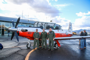 Trainee Marine pilot 2nd Lt. Melonas, and Naval Pilots Lt. Larnerd and Lt. Commander Graham pose for a photo Thursday afternoon. Rick Powell/RiverScene