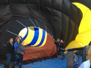 Starline Elementary School teachers help crew Robbie Reach For The Stars Balloon Saturday morning. Submitted photo Alexis Vernon