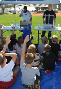 Fourth grade students learn a water conservation lesson Wednesday morning. Jillian Danielson/RiverScene