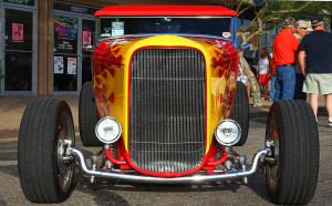 A 1932 Ford Roadster sits on display on Main Street Friday afternoon. Jillian Danielson/RiverScene