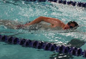 A Havasu Stingray participant swims the 200 laps Saturday morning at Aquatic Center. Jillian Danielson/RiverScene