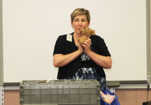Christy Crow speaks to Amy Ulmer's reading class about recycling. Jillian Danielson/RiverScene