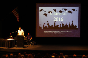 LHHS principal Scott Becker, opens the awards ceremony Thursday morning.