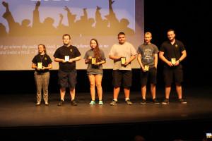 Six students receive the Senior Perfect Attendance Award Thursday morning at Lake Havasu High School. Jillian Danielson/RiverScene
