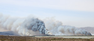 The Topock/Pirate Fire burns Wednesday morning. Rick Powell/RiverScene