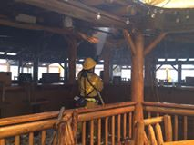 Firefighters work to protect structure at Pirate Cove. photo courtesy San Bernardino County Fire