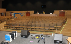 A view of the sanctuary from the stage on Monday afternoon during final preparations. Jillian Danielson/RiverScene