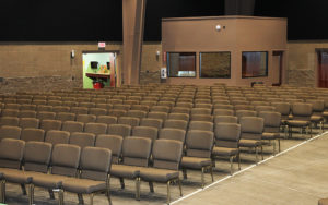 A view of the sanctuary from the stage on Monday afternoon during final preparations.