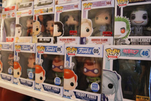 A collection of POPS are displayed on a shelf in the home of Angela and David. Jillian Danielson/RiverScene