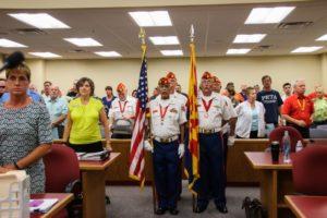 The Lake Havasu Marine Corps League Detachment 757 presenting Colors . Rick Powell/RiverScene