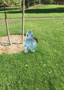 Screenshot of a Pokemon character at the park courtesy Melissa Simpson.