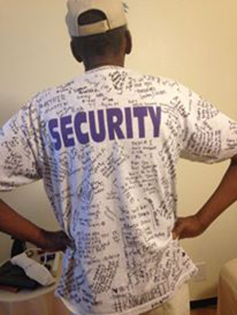 Tee wears a shirt given to him and signed by Lake Havasu High School students. Photo courtesy Beth Taylor