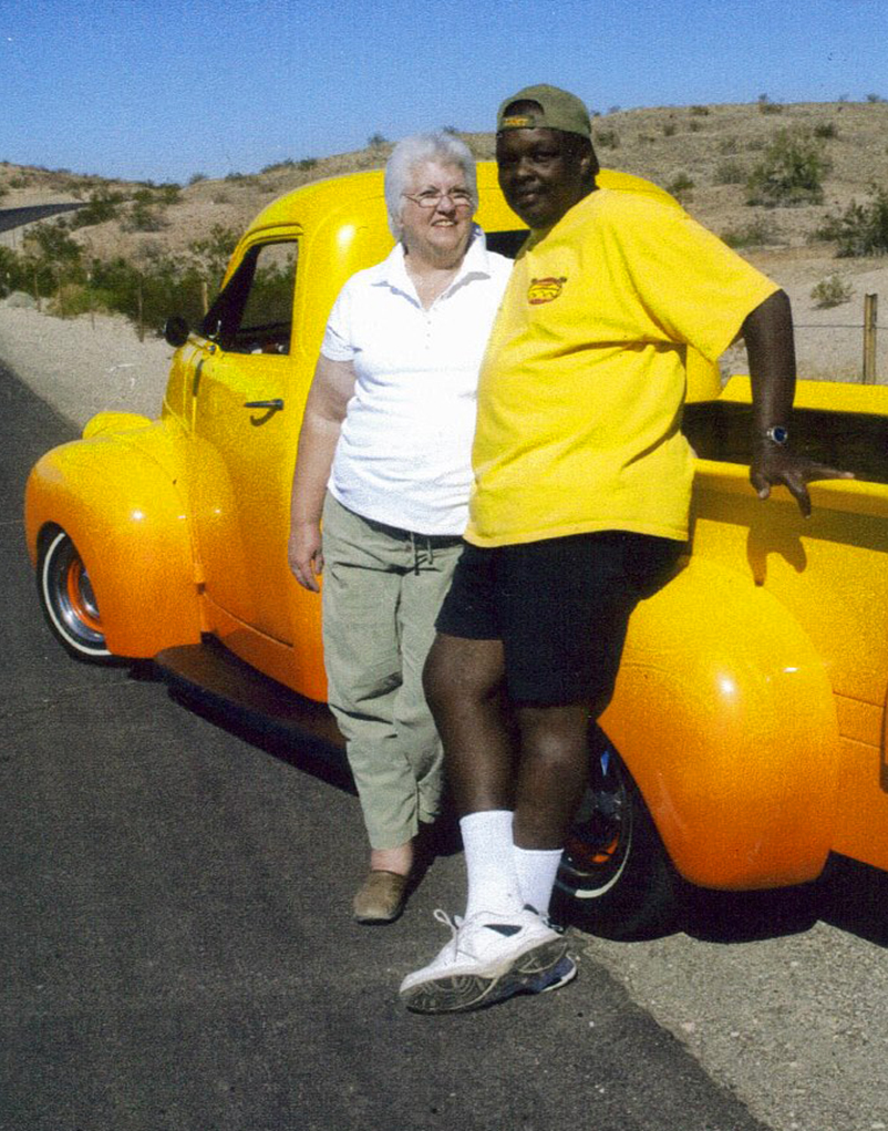 A scanned photo of Beth and Tee Taylor in 2011 during a photoshoot. Tee often leant his cars for pinup photoshoots for local photographers and pinup models. Photo Courtesy Beth Taylor