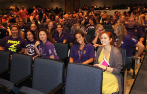 Lake Havasu High School teachers and staff sit in the auditorium for the rally Wednesday morning. Jillian Danielson/RiverScene