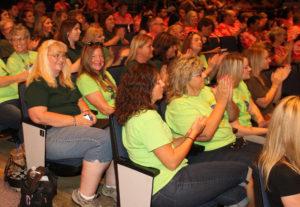 Jamaica Elementary teachers and staff sit in the auditorium Wednesday morning. Jillian Danielson/RiverScene
