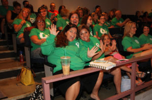 Oro Grande teachers and staff show their enthusiasm for the first day of school. Jillian Danielson/RiverScene