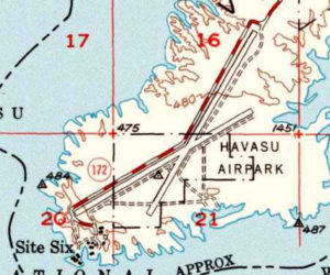 The 1950 USGS topo map depicted the _Havas u Airpark_ as having 2 paved runways. Courtesy Museum of History