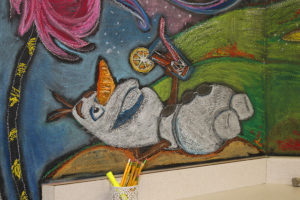 """""""Olaf"""" from the movie """"Frozen"""" is one of the characters painted on the mural. Jillian Danielson/RiverScene"""
