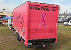 A big pink truck sits on display at Denise's Day. Jillian Danielson/RiverScene