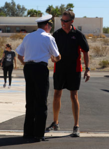 Former LHC fire chief Dennis Mueller is greeted by the current LHC fire chief Brian Davis at the Fire Department open house. Jillian Danielson/RiverScene