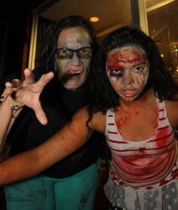 Ginger Willis and Savannah Baxter participate in the Zombie Pub Crawl Saturday evening. Jillian Danielson/RiverScene